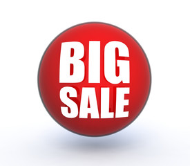 Big sale sphere icon on white background