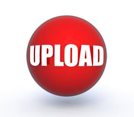 upload sphere icon on white background