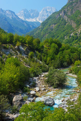 Amazing view of mountain river in Albanian Alps
