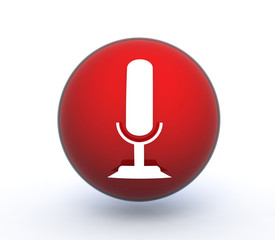 microphone sphere icon on white background