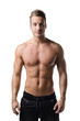 Handsome shirtless young man with muscular body, isolated