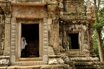 Buddhist monk in a temple in angkor