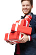 Young man received a lot of presents in red packaging, isolated