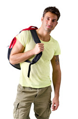 Handsome young man with backpack, isolated on white