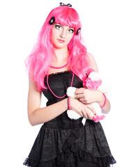 Manga Girl mit pinken Haaren