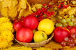 Autumnal composition with yellow leaves, apples and grape