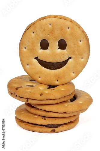 Stack of Biscuits Smile on white background