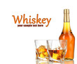 Glasses of whiskey with bottle, isolated on white