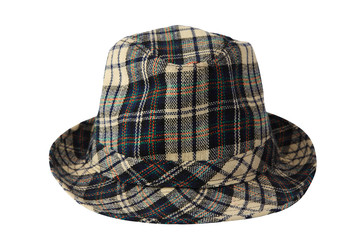 Checked Plaid Fedora Hat isolated
