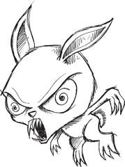 Sketch Doodle Drawing Zombie Bunny Vector Art
