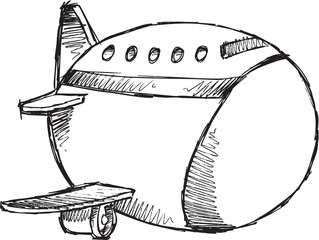 Sketch Doodle Drawing Jumbo Jet Vector Art