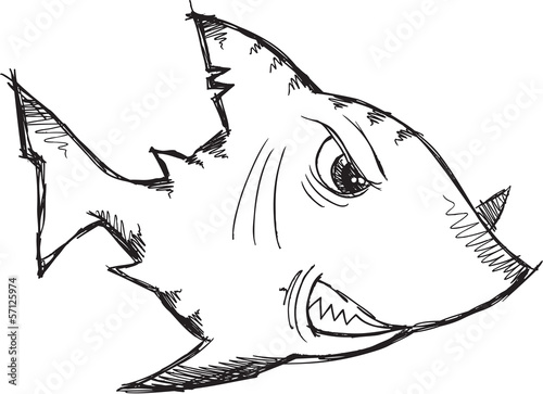 Sketch Doodle Drawing Shark Vector Art