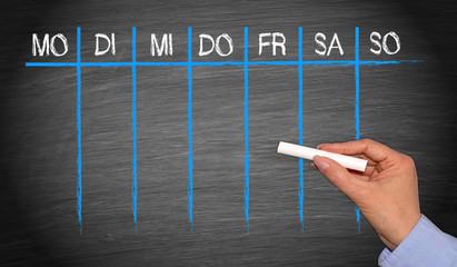 Kalender für eine Woche