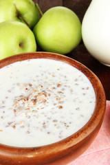 Buckwheat porridge with milk on table close-up