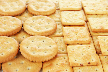 Delicious crackers close up