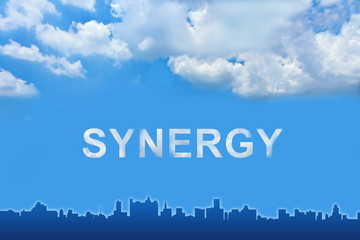 synergy text on clouds
