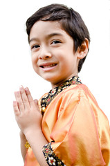Thai boy traditional costume on white background
