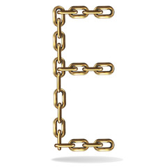 Golden Letter E, made with chains