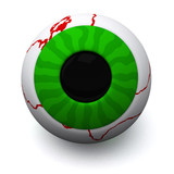 Green Halloween eyeball, 3d