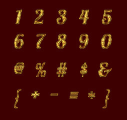 Gold numbers and signs with rubies.