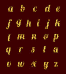 Golden alphabet with rubies.