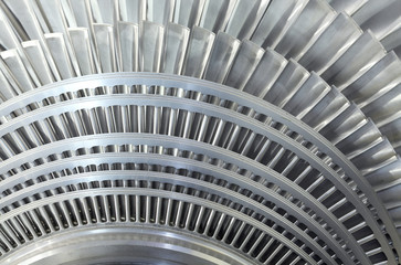 Close up rotor of a steam turbine