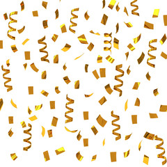 Golden confetti - party streamers, 3d