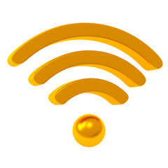 Golden wifi icon, 3d