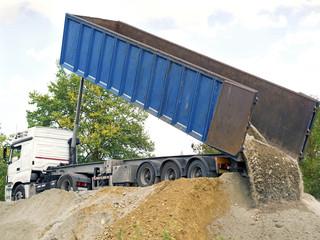 dump truck downloading terrain