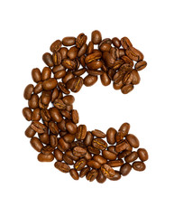 coffee beans, letters isolated on white background