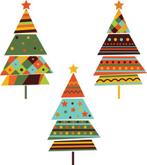 Set of stylized fir trees. Vector