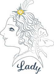 Ladylike line illustration with edelweiss flower.
