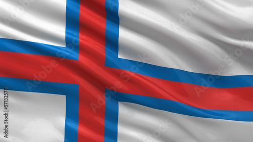 Flag of Faroe Islands waving in the wind