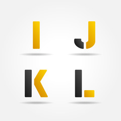 ijkl yellow stencil letters