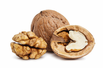 Walnuts, isolated on a white background