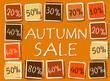 autumn sale and percentages in squares - retro orange label
