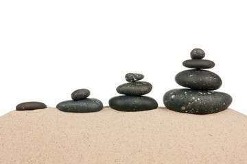 Four pyramids on the sand