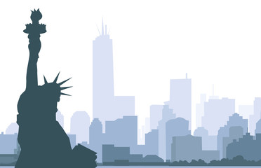 Statue of Liberty & New York - Vector
