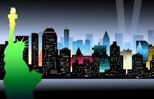 Papier Peint - Statu of Libery & New York at Night - Vector