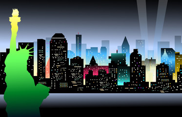 Statu of Libery & New York at Night - Vector