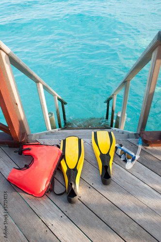 the equipments for snorkeling, mask fin and lifebuoy