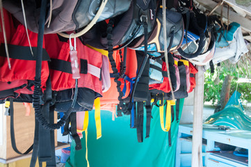 lifejacket, snorkel equipment