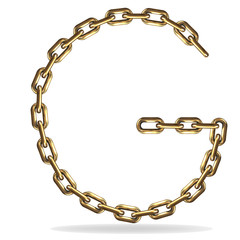 Golden Letter G, made with chains
