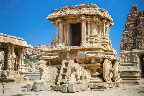 Chariot and Vittala temple at Hampi, India