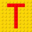 Letter T in construction kit.