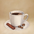 Watercolor illustration of coffee cup