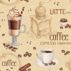 Pattern with illustrations of coffee cup and coffee beans