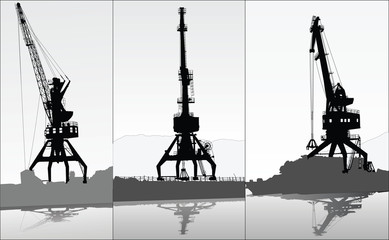Set of vector silhouettes of 3 port cranes
