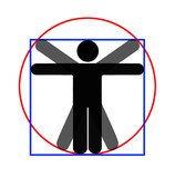Modern parody - Vitruvian man, white background