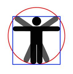 Modern parody - Vitruvian man, white background